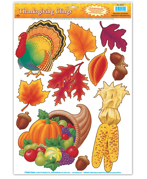 """Club Pack of 132 Thanksgiving and Fall Harvest Window Cling Decorations 17"""" - IMAGE 1"""