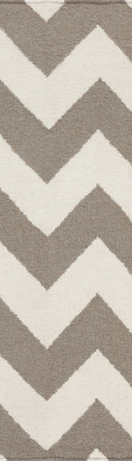 2.5' x 8' Valiant Zigzag Light Brown and Ivory Reversible Woven Wool Throw Rug Runner - IMAGE 1