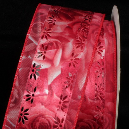 """Red and White Roses Floral Print Margaritte Wired Craft Ribbon 2.5"""" x 20 Yards - IMAGE 1"""