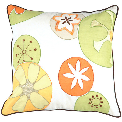 """22"""" White and Yellow Contemporary Square Throw Pillow - Down Filler - IMAGE 1"""