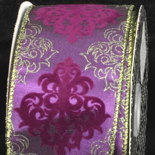 "Purple and Gold Damask Wired Craft Ribbon 2.5"" x 20 Yards - IMAGE 1"