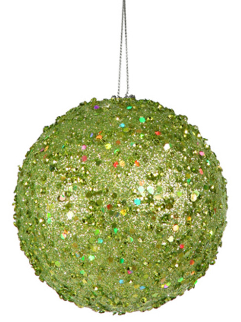 "Holographic Glitter Fancy Green Apple Holographic Glitter Drenched Christmas Ball Ornament 4.75"" (120mm) - IMAGE 1"