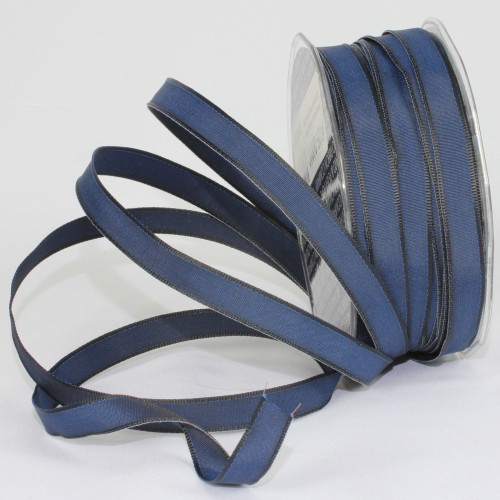"""Navy Blue French Wired Craft Ribbon 0.25"""" x 108 Yards - IMAGE 1"""