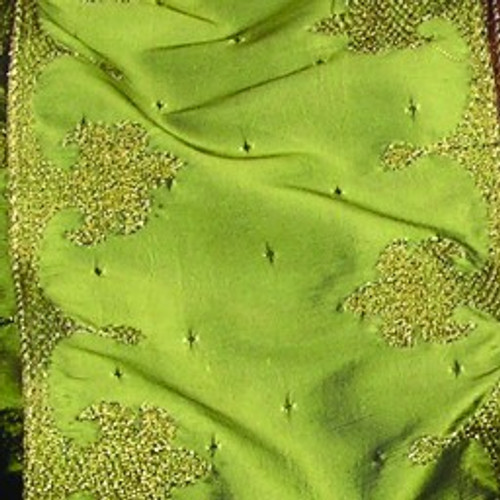 "Green French Boudoir Wired Craft Ribbon 4"" x 10 Yards - IMAGE 1"