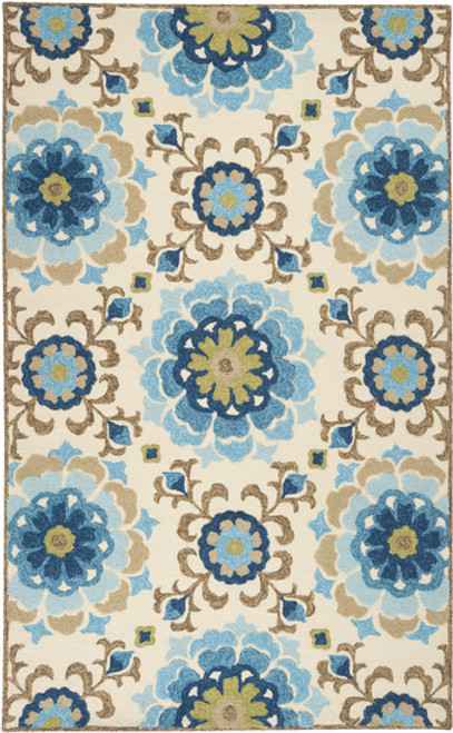 8' x 10.5' Fun Flowers Sky Blue and Cream Hand Hooked Outdoor Area Throw Rug - IMAGE 1