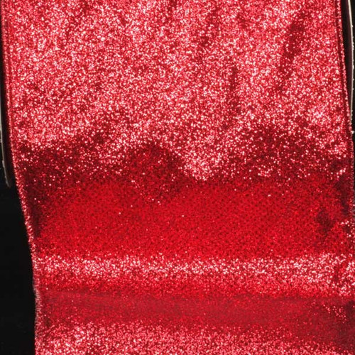 """Sparkling Red Glitter Wired Craft Ribbon 6"""" x 20 Yards - IMAGE 1"""