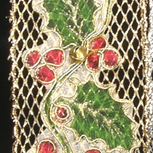 """Red and Green Ivy Bells Sheer Wired Craft Ribbon 2.5"""" x 10 Yards - IMAGE 1"""