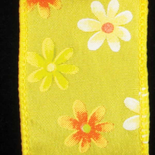 """Yellow and White Floral Wired Craft Ribbon 1.5"""" x 20 Yards - IMAGE 1"""