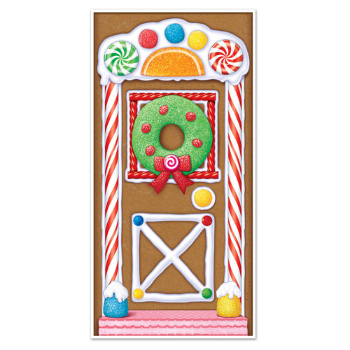 Club Pack of 12 Winter Wonderland Themed Gingerbread House Door Cover Party Decorations 5' - IMAGE 1