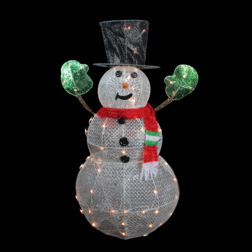 """48"""" White and Red 3-D Lighted Glittering Mesh Winter Snowman Christmas Outdoor Decoration - IMAGE 1"""