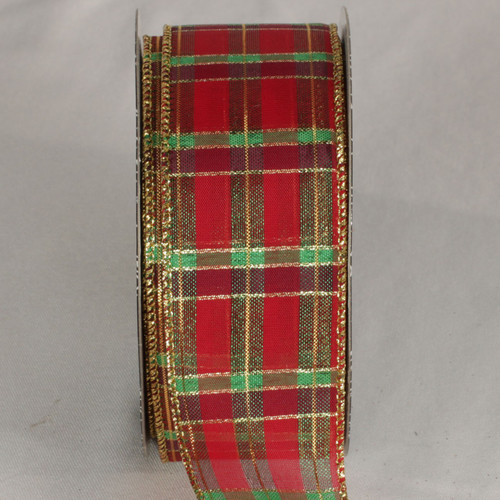 """Red and Gold Tartan Wired Craft Ribbon 2"""" x 40 Yards - IMAGE 1"""