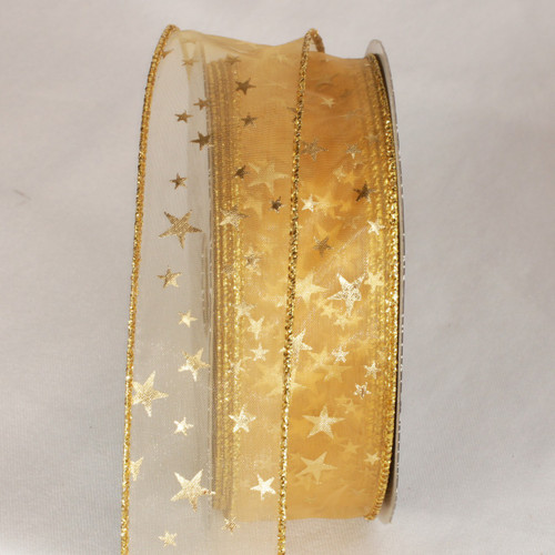 "Gold Stars Sheer Wired Ribbon 1.5"" x 40 yards - IMAGE 1"