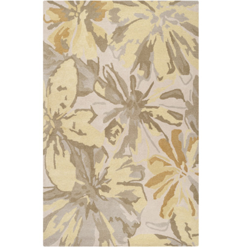 7.5' x 9.5' Gray and Brown Floral Rectangular Area Throw Rug - IMAGE 1