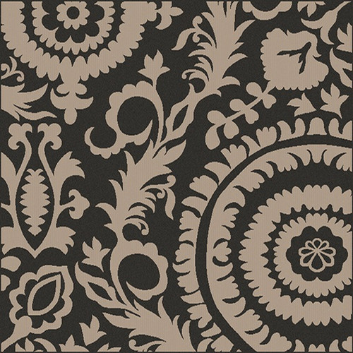 8.75' x 8.75' Black and Beige Floral Shed-Free Square Area Throw Rug - IMAGE 1