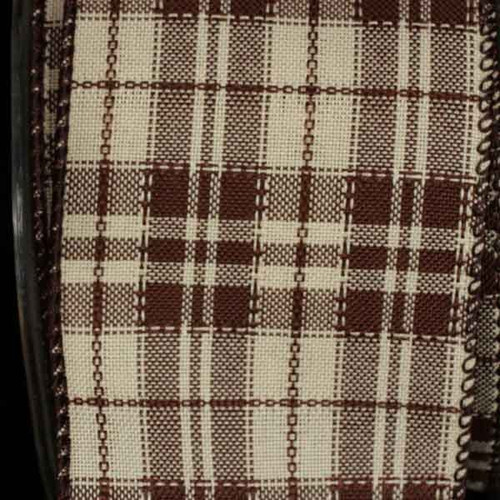 """Chocolate Brown and Ivory Plaid Wired Craft Ribbon 2.5"""" x 40 Yards - IMAGE 1"""