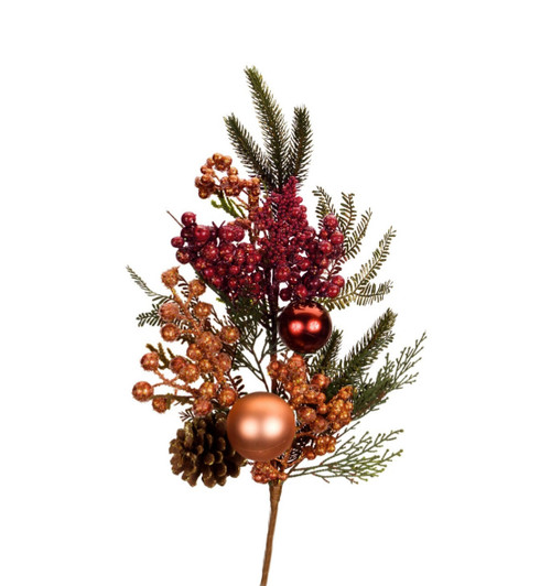 """30"""" Red Berry and Pinecone Glitter Artificial Christmas Spray - IMAGE 1"""