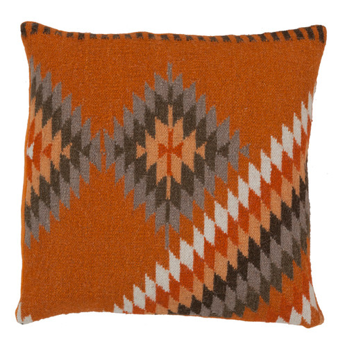 """22"""" Orange and Gray Throw Pillow - Down Filler - IMAGE 1"""