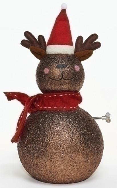 "18"" Metallic Brown and Red Musical Reindeer Christmas Tabletop Figurine - IMAGE 1"