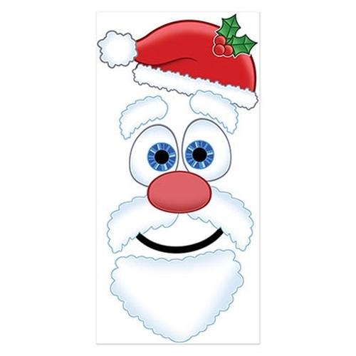 Club Pack of 12 Red and White Santa Claus Face Christmas Door Covers 5' - IMAGE 1