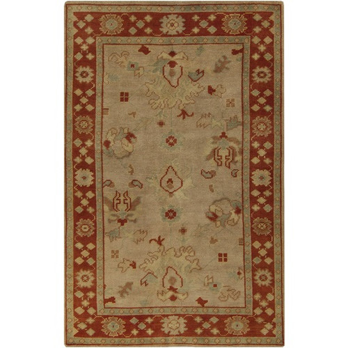5.5' x 8.5' Traditional Brick Red and Beige Hand Knotted Rectangular Wool Area Throw Rug - IMAGE 1