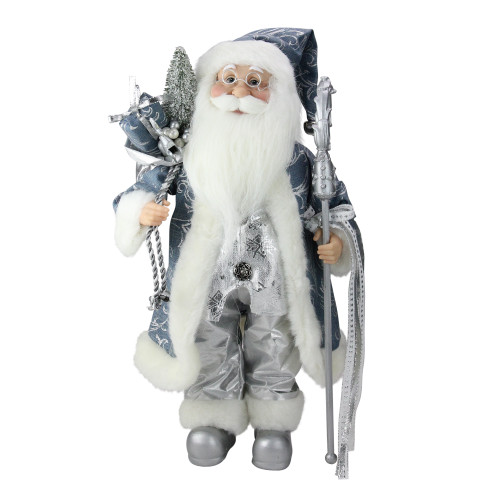 """16"""" Ice Palace Standing Santa Claus Holding A Staff and Bag Christmas Figure - IMAGE 1"""