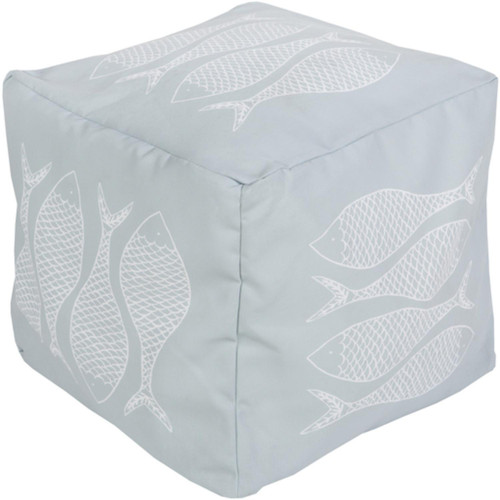 "18"" Powder Blue and Light Gray Mackerel Square Outdoor Patio Pouf Ottoman - IMAGE 1"