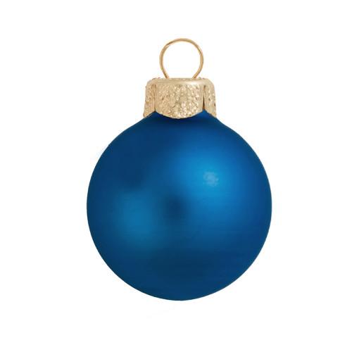 "Matte Blue Delft Glass Ball Christmas Ornament 7"" (180mm) - IMAGE 1"