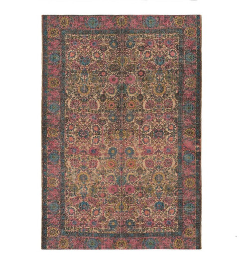 5' x 7.5' Mama's Garden Carnation Pink and Sky Blue Hand Woven Area Throw Rug - IMAGE 1