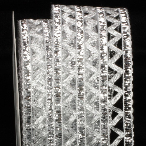 """Silver Open Weave Istanbul Wired Craft Ribbon 2.5"""" x 27 Yards - IMAGE 1"""