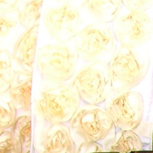 """Ivory Contemporary Roses Wired Craft Ribbon 4"""" x 10 Yards - IMAGE 1"""