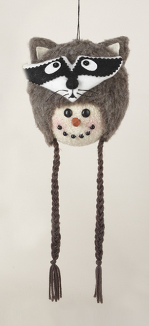"""13"""" Brown and Black Snowman with Plush Raccoon Hat Christmas Ornament - IMAGE 1"""