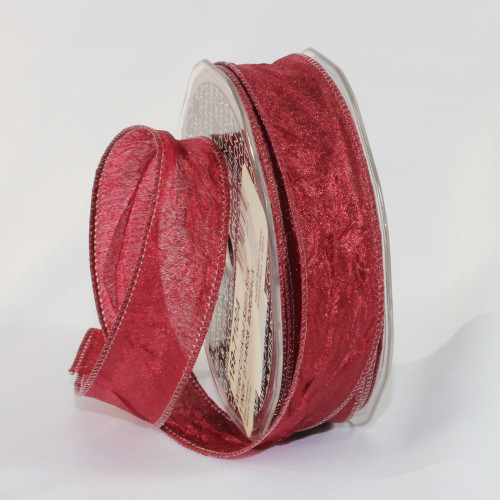 """Bordeaux Red Crinkled Satin Wired Craft Ribbon 1"""" x 54 Yards - IMAGE 1"""