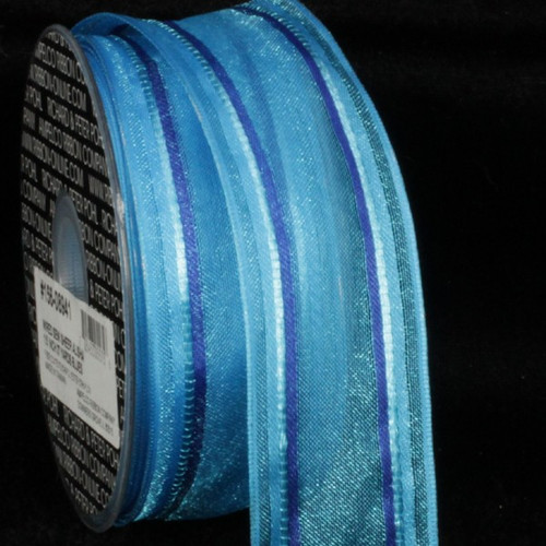 "Blue Striped Wired Craft Ribbon 1.5"" x 54 Yards - IMAGE 1"
