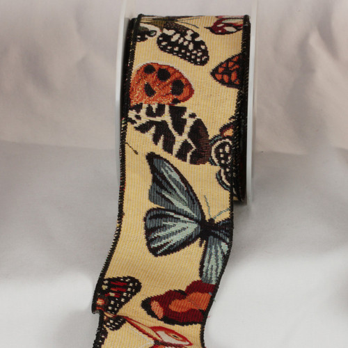 """Black and Ivory Butterfly Wired Craft Ribbon 3"""" x 9 Yards - IMAGE 1"""