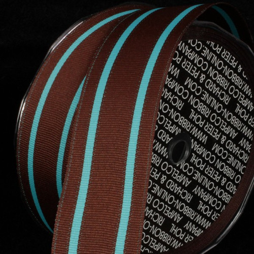 """Brown and Blue Striped Wired Craft Ribbon 1.5"""" x 27 Yards - IMAGE 1"""