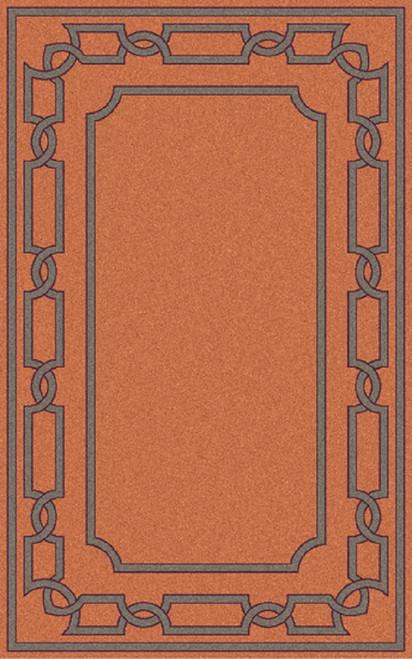 5' x 8' Victorian Frame Tangerine Orange and Ash Gray Hand Woven Wool Area Throw Rug - IMAGE 1