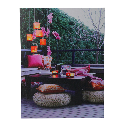 """LED Lighted Pink Orchid and Candle Lantern Patio Party Scene Canvas Wall Art 15.75"""" x 11.75"""" - IMAGE 1"""