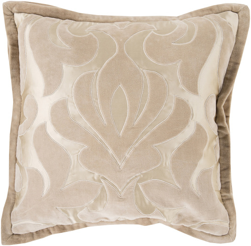 "20"" Brown Contemporary Floral Square Throw Pillow - IMAGE 1"