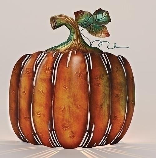 "13"" Autumn Burnt Orange and Green Metal Pumpkin Tabletop Votive Candle Holder - IMAGE 1"