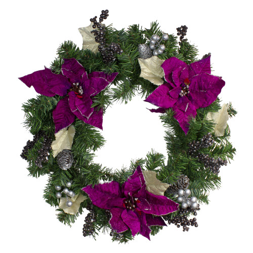 Purple Poinsettia and Silver Pine Cone Artificial Christmas Wreath - 24-Inch, Unlit - IMAGE 1