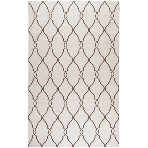 3.5' x 5.5' Beige and Brown Damask Hand Tufted Wool Area Throw Rug - IMAGE 1
