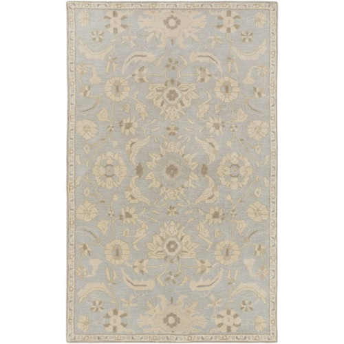 4' x 6' Floral Gray and Tan Brown Hand Tufted Rectangular Wool Area Throw Rug - IMAGE 1