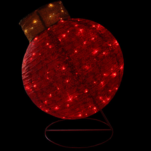 "36"" Pre-Lit Red LED Glitter Ball Ornament Outdoor Christmas Yard Decor - IMAGE 1"