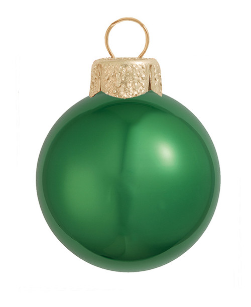 "6ct Emerald Green Shiny Glass Christmas Ball Ornaments 4"" (100mm) - IMAGE 1"