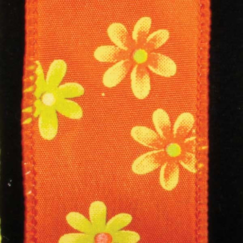 """Orange and Yellow Floral Wired Craft Ribbon 1.5"""" x 40 Yards - IMAGE 1"""