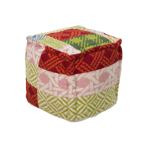 """18"""" Red, Green and Pink Plaid Cross Pattern Wool Square Pouf Ottoman - IMAGE 1"""
