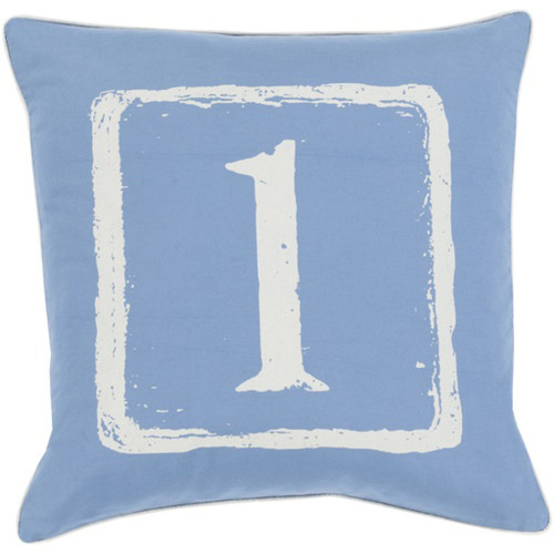 "22"" Cobalt Blue and White 1 Big Kid Blocks Decorative Throw Pillow - Down Filler - IMAGE 1"