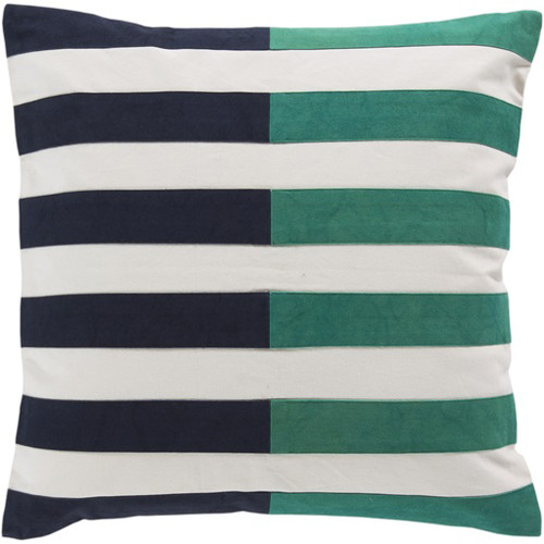 """22"""" Green and Blue Striped Square Throw Pillow - IMAGE 1"""