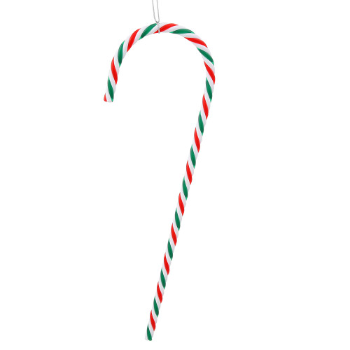 "Set of 2 Red and Green Striped Candy Cane Christmas Ornaments 18"" - IMAGE 1"