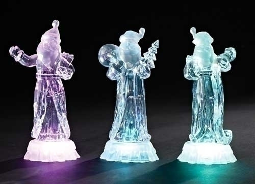 """7.5"""" Ice Crystal Battery Operated LED Lighted Santa Claus with Christmas Tree - IMAGE 1"""
